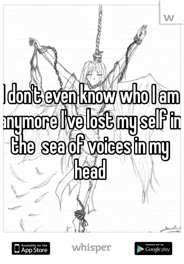 I don't even know who I am anymore I've lost my self in the  sea of voices in my head