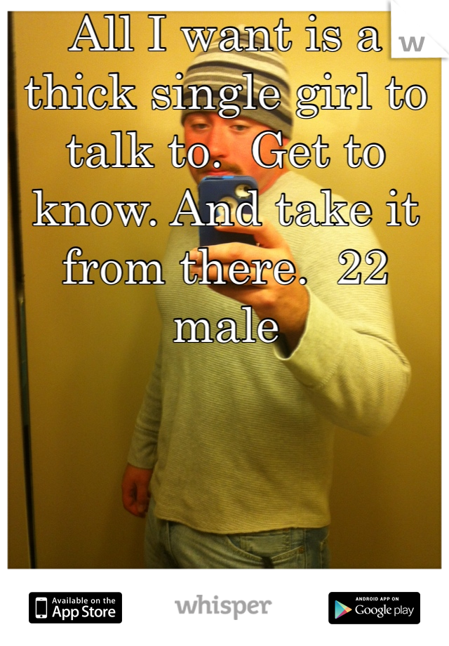 All I want is a thick single girl to talk to.  Get to know. And take it from there.  22 male