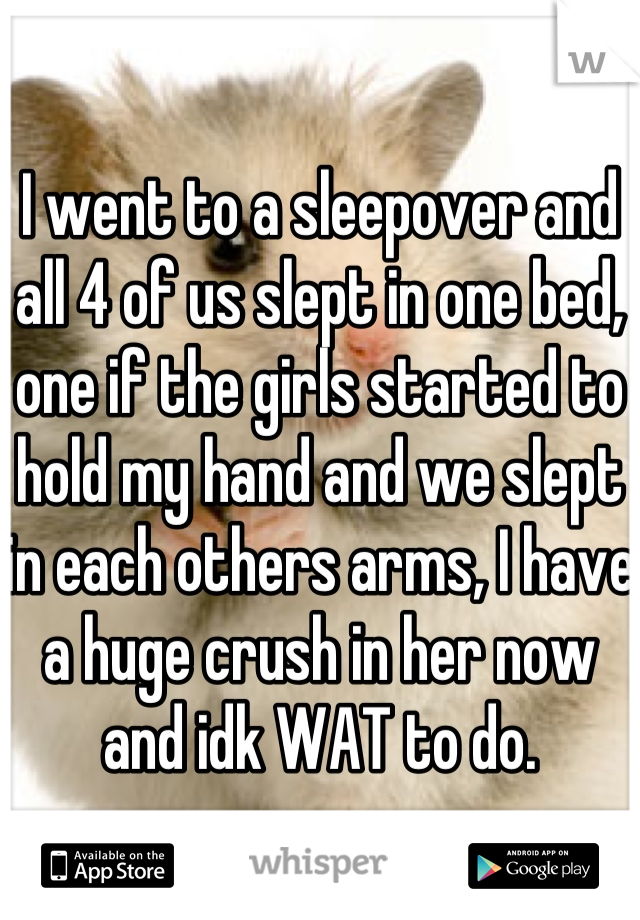 I went to a sleepover and all 4 of us slept in one bed, one if the girls started to hold my hand and we slept in each others arms, I have a huge crush in her now and idk WAT to do.