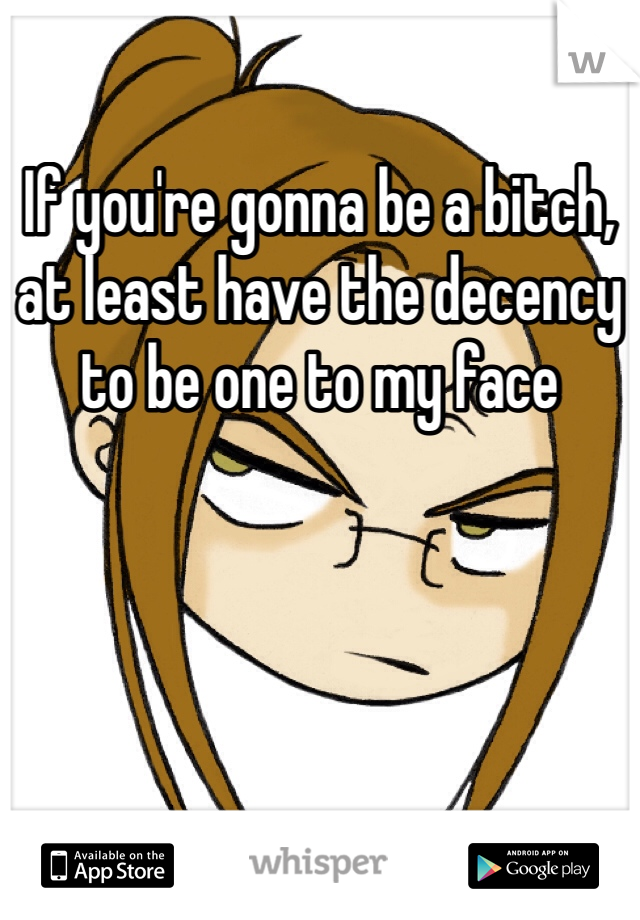 If you're gonna be a bitch, at least have the decency to be one to my face