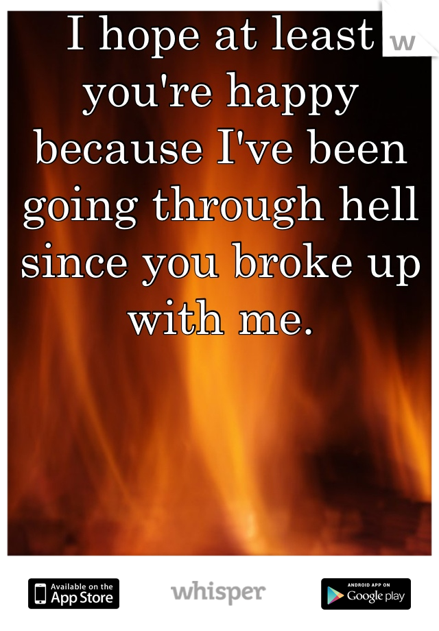I hope at least you're happy because I've been going through hell since you broke up with me.