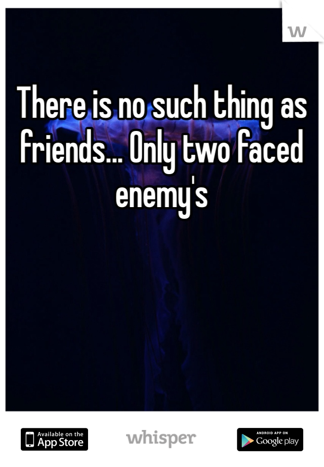 There is no such thing as friends... Only two faced enemy's