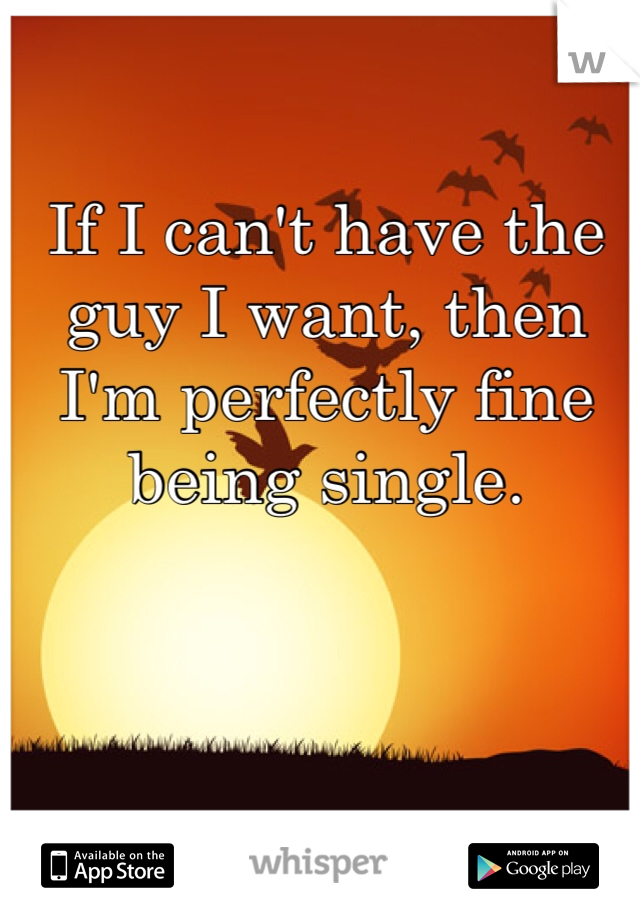 If I can't have the guy I want, then I'm perfectly fine being single.