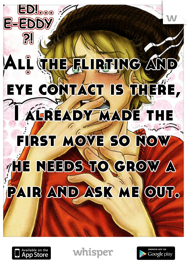 All the flirting and eye contact is there, I already made the first move so now he needs to grow a pair and ask me out.