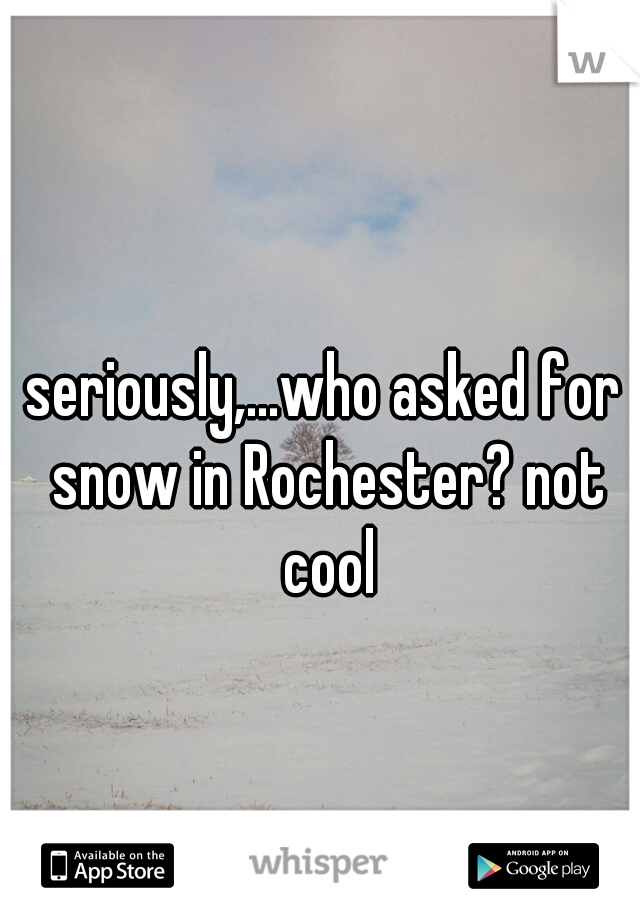 seriously,...who asked for snow in Rochester? not cool