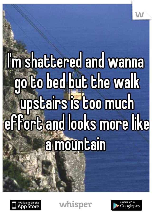 I'm shattered and wanna go to bed but the walk upstairs is too much effort and looks more like a mountain