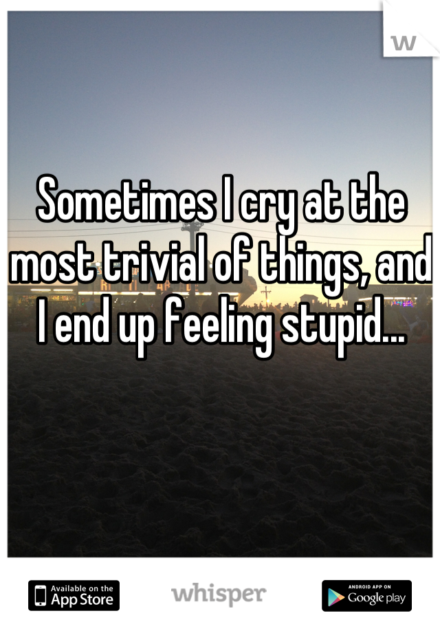 Sometimes I cry at the most trivial of things, and I end up feeling stupid...