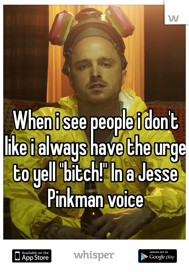 """When i see people i don't like i always have the urge to yell """"bitch!"""" In a Jesse Pinkman voice"""