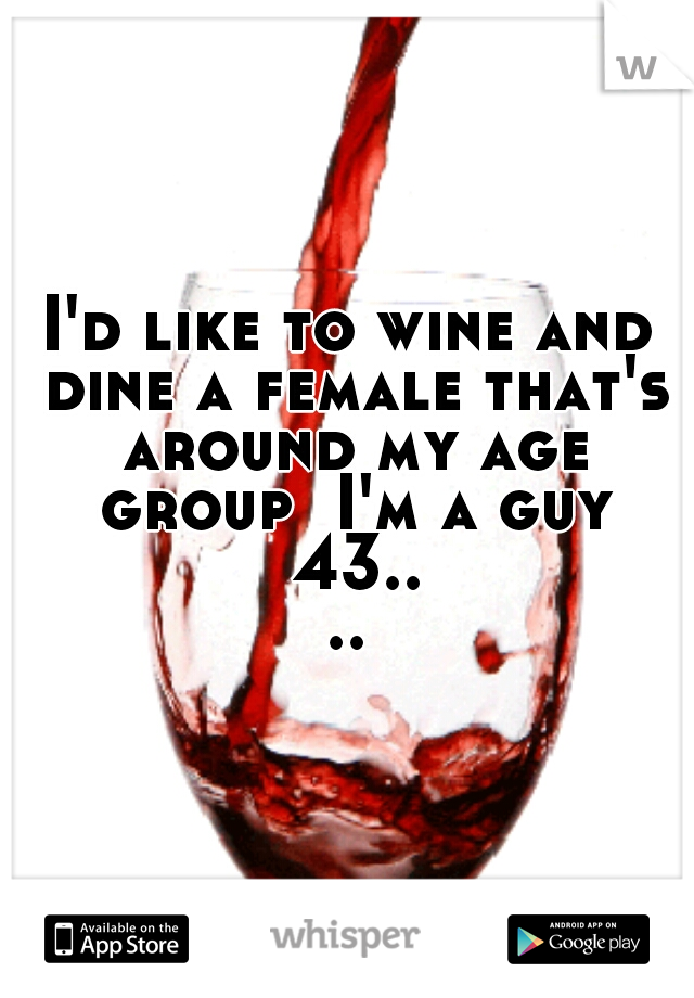 I'd like to wine and dine a female that's around my age group  I'm a guy 43....
