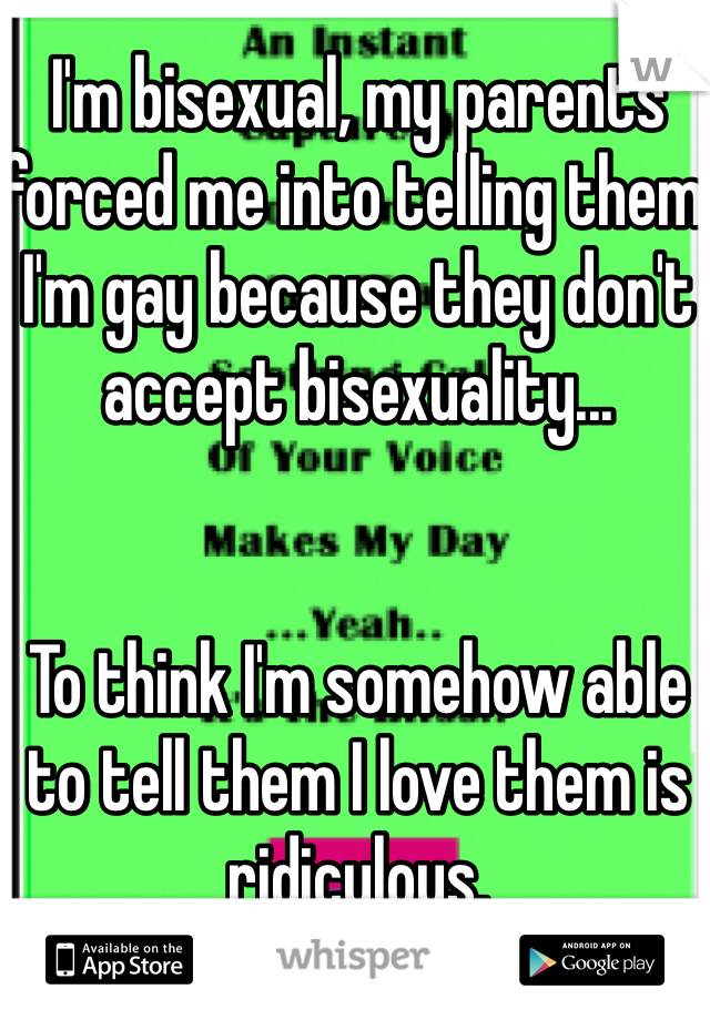 I'm bisexual, my parents forced me into telling them I'm gay because they don't accept bisexuality...    To think I'm somehow able to tell them I love them is ridiculous.