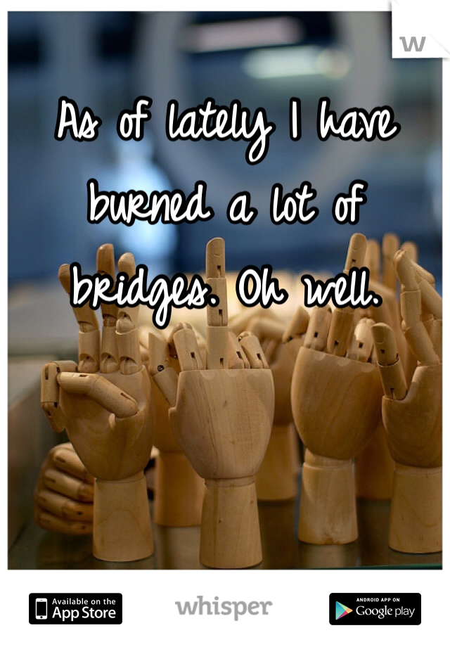 As of lately I have burned a lot of bridges. Oh well.