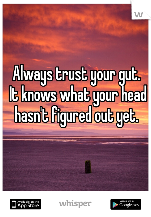 Always trust your gut.  It knows what your head hasn't figured out yet.