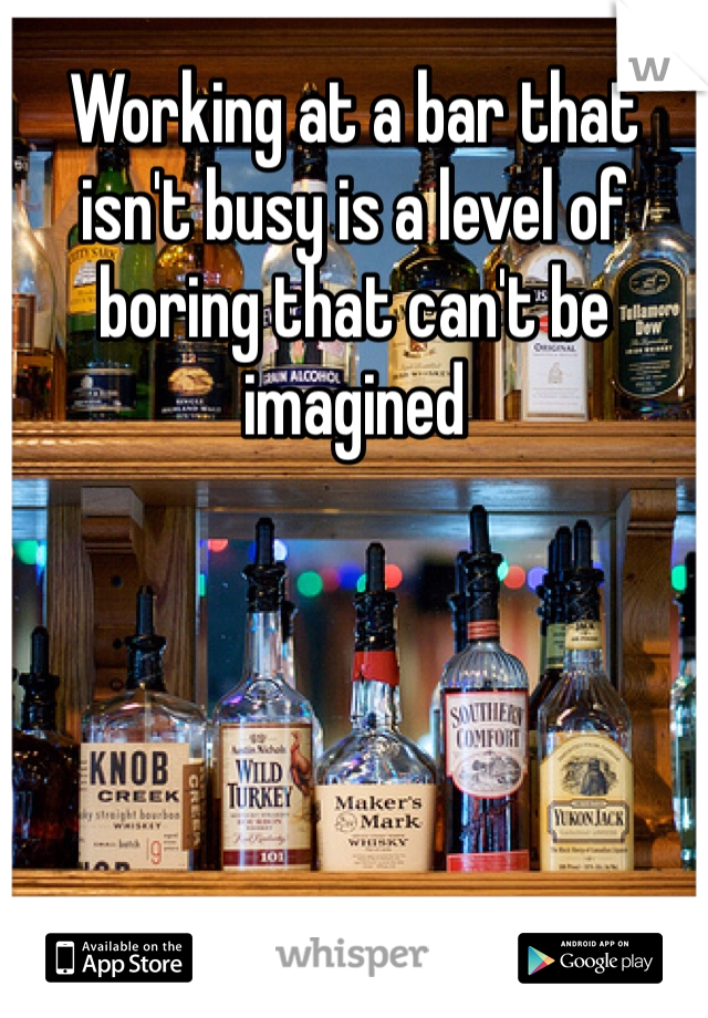 Working at a bar that isn't busy is a level of boring that can't be imagined
