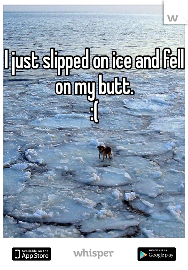 I just slipped on ice and fell on my butt.   :(