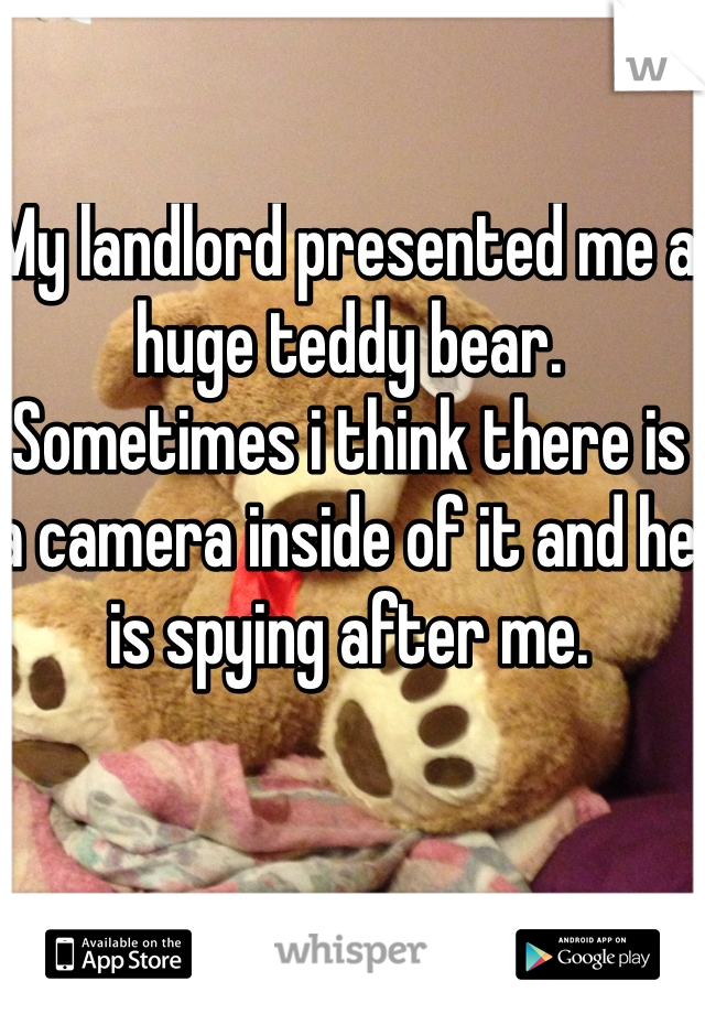 My landlord presented me a huge teddy bear. Sometimes i think there is a camera inside of it and he is spying after me.