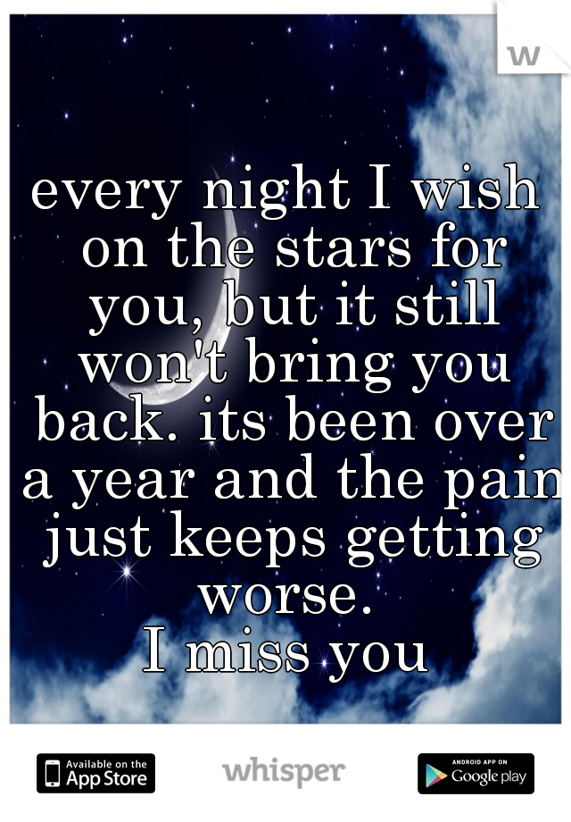 every night I wish on the stars for you, but it still won't bring you back. its been over a year and the pain just keeps getting worse.  I miss you
