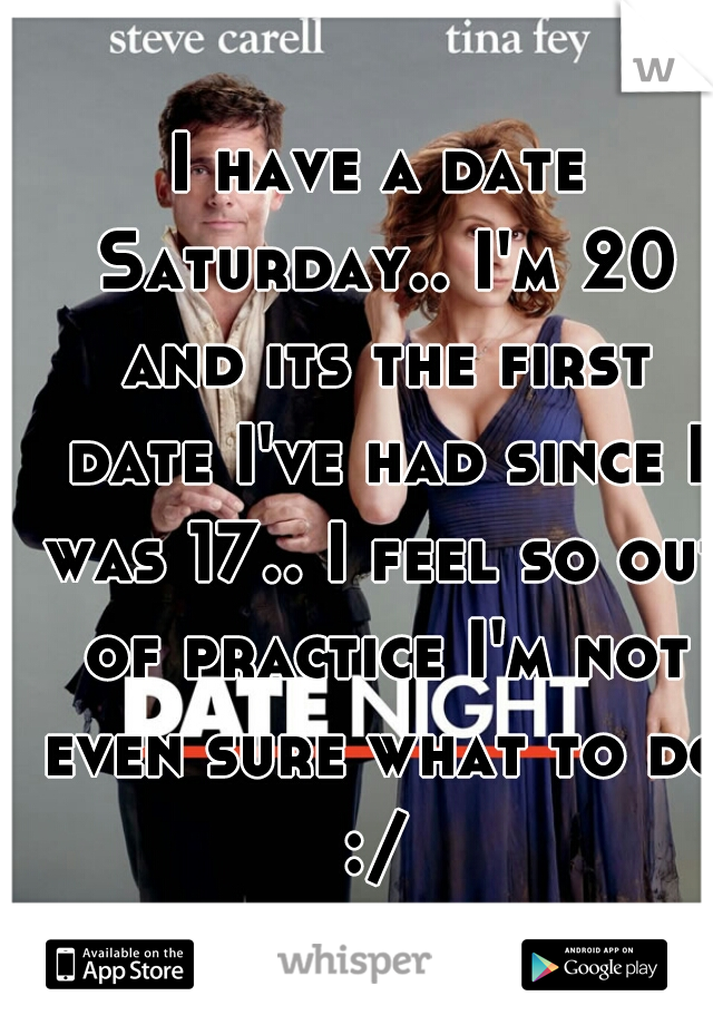 I have a date Saturday.. I'm 20 and its the first date I've had since I was 17.. I feel so out of practice I'm not even sure what to do :/