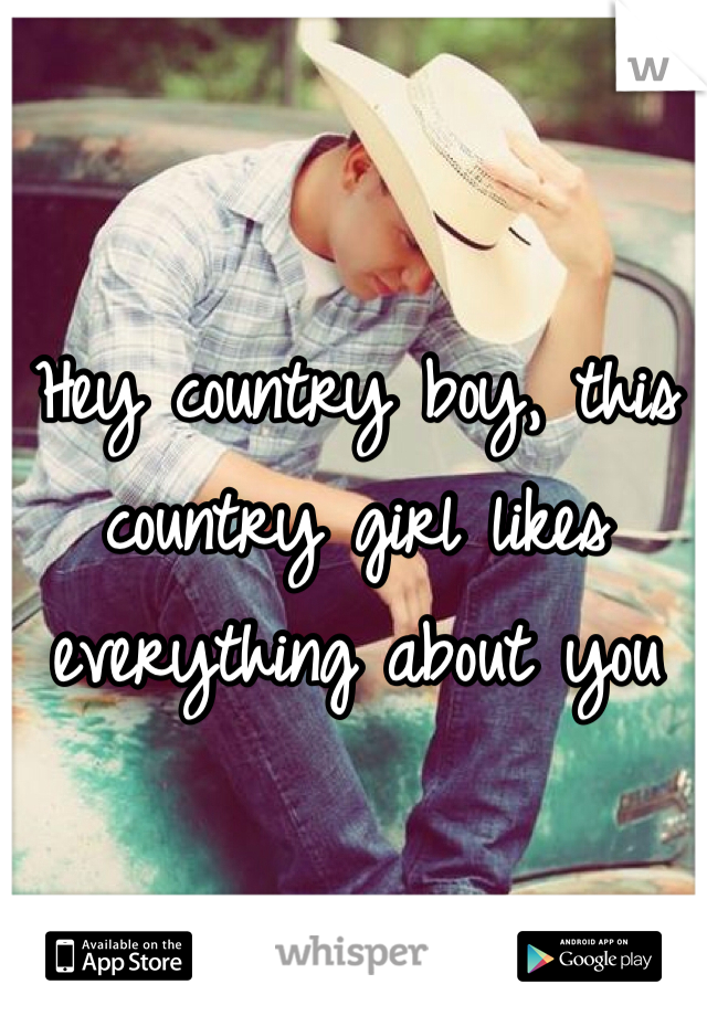 Hey country boy, this country girl likes everything about you