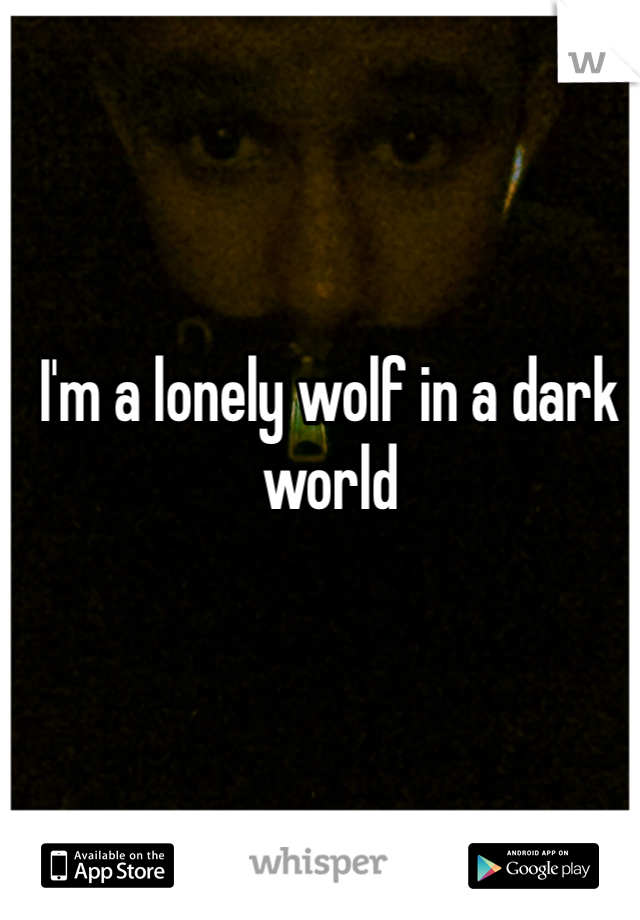 I'm a lonely wolf in a dark world