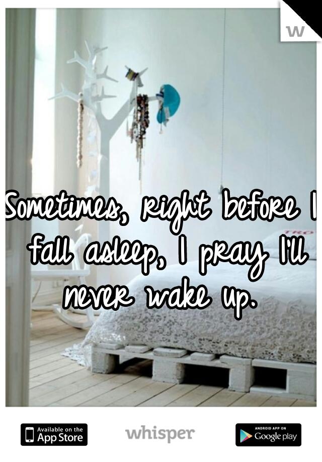 Sometimes, right before I fall asleep, I pray I'll never wake up.