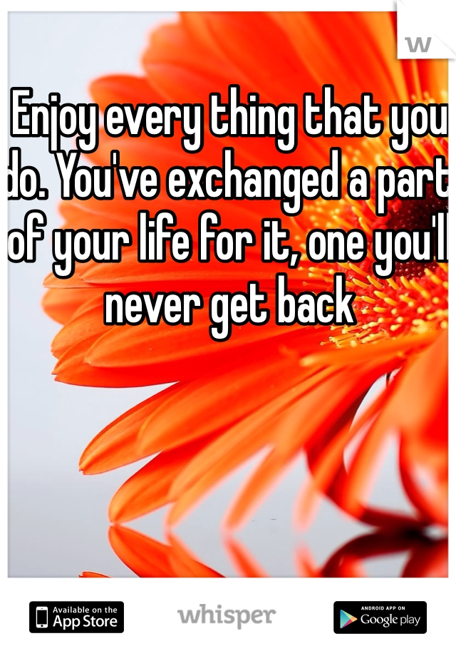 Enjoy every thing that you do. You've exchanged a part of your life for it, one you'll never get back