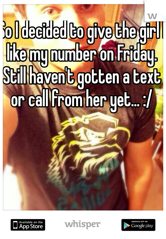 So I decided to give the girl I like my number on Friday. Still haven't gotten a text or call from her yet... :/
