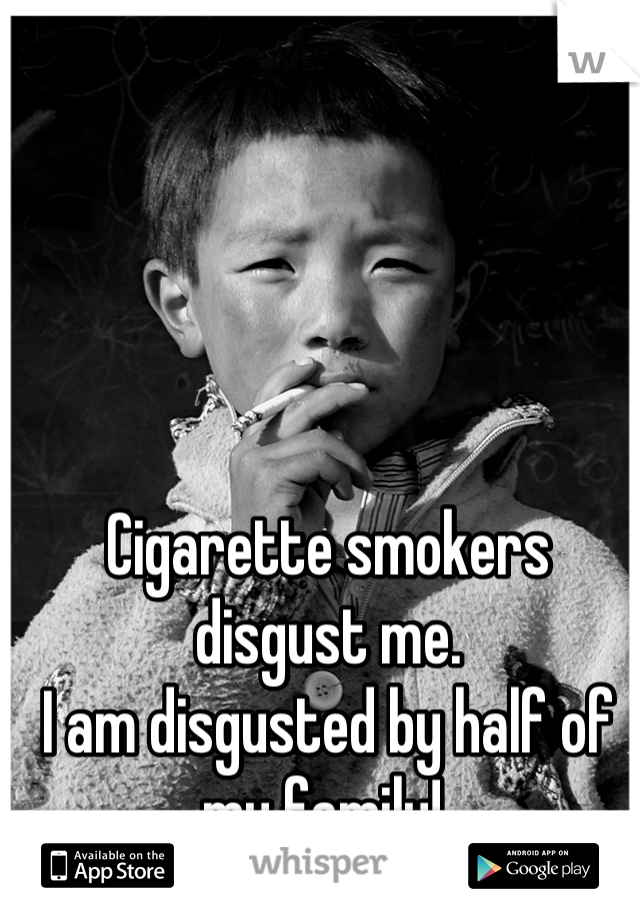 Cigarette smokers disgust me. I am disgusted by half of my family!