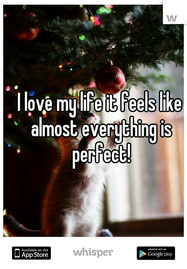 I love my life it feels like almost everything is perfect!