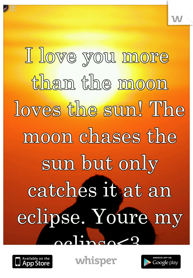 I love you more than the moon loves the sun! The moon chases the sun but only catches it at an eclipse. Youre my eclipse<3