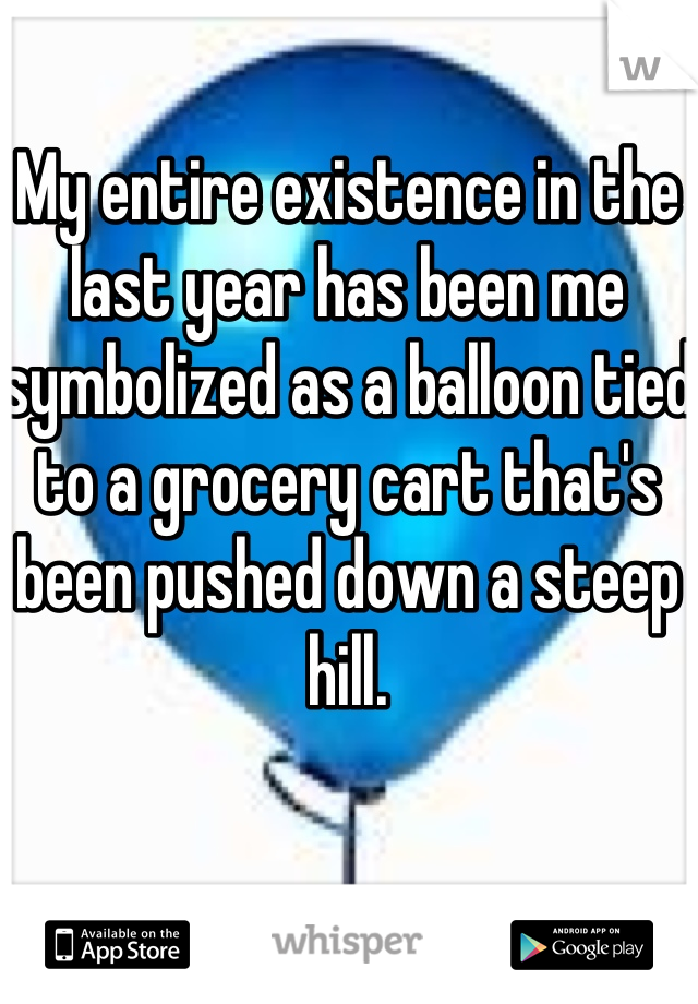 My entire existence in the last year has been me symbolized as a balloon tied to a grocery cart that's been pushed down a steep hill.