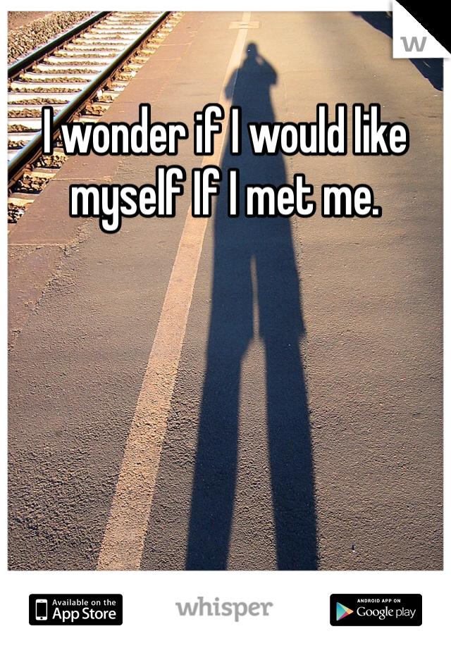 I wonder if I would like myself If I met me.