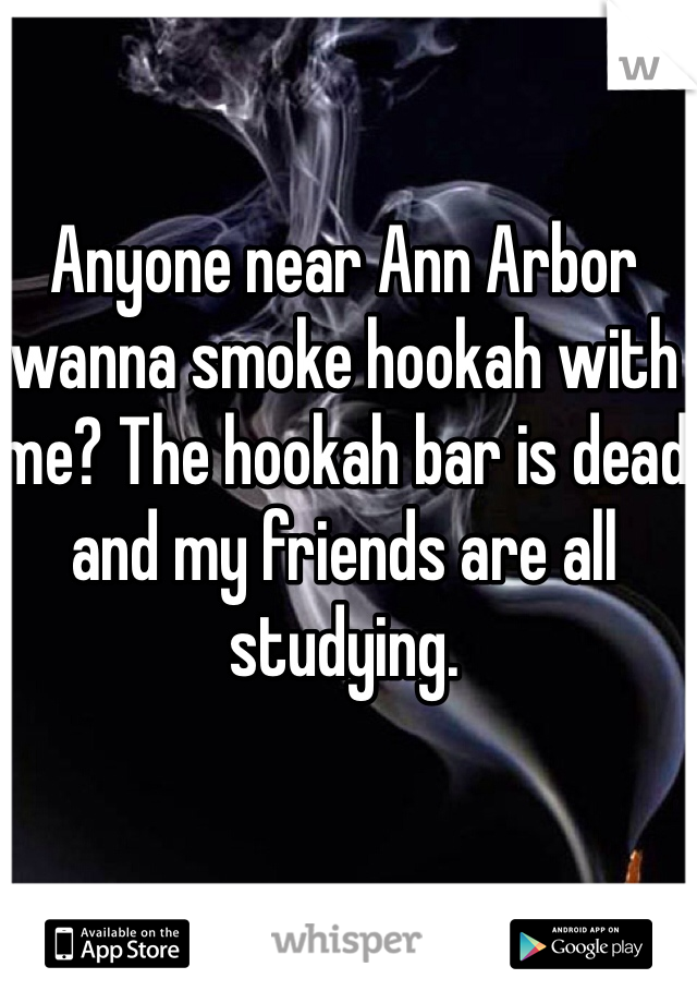 Anyone near Ann Arbor wanna smoke hookah with me? The hookah bar is dead and my friends are all studying.