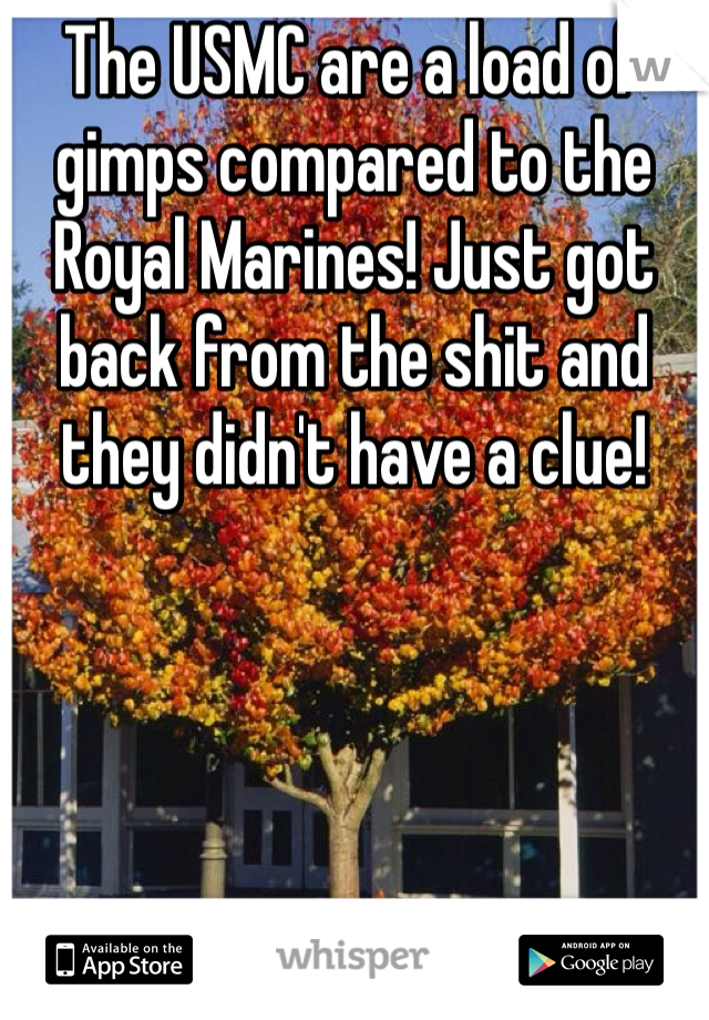 The USMC are a load of gimps compared to the Royal Marines! Just got back from the shit and they didn't have a clue!
