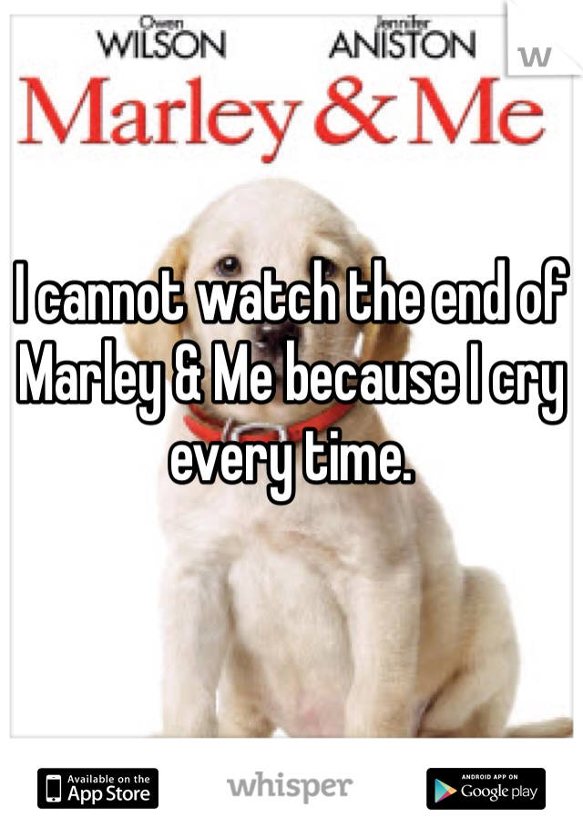 I cannot watch the end of Marley & Me because I cry every time.