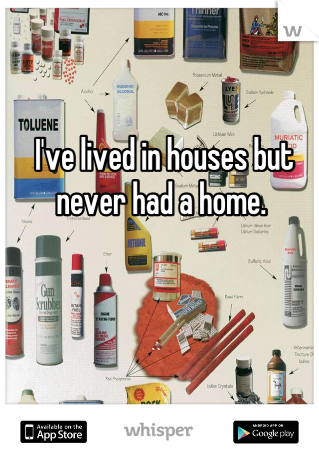 I've lived in houses but never had a home.