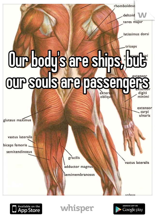 Our body's are ships, but our souls are passengers