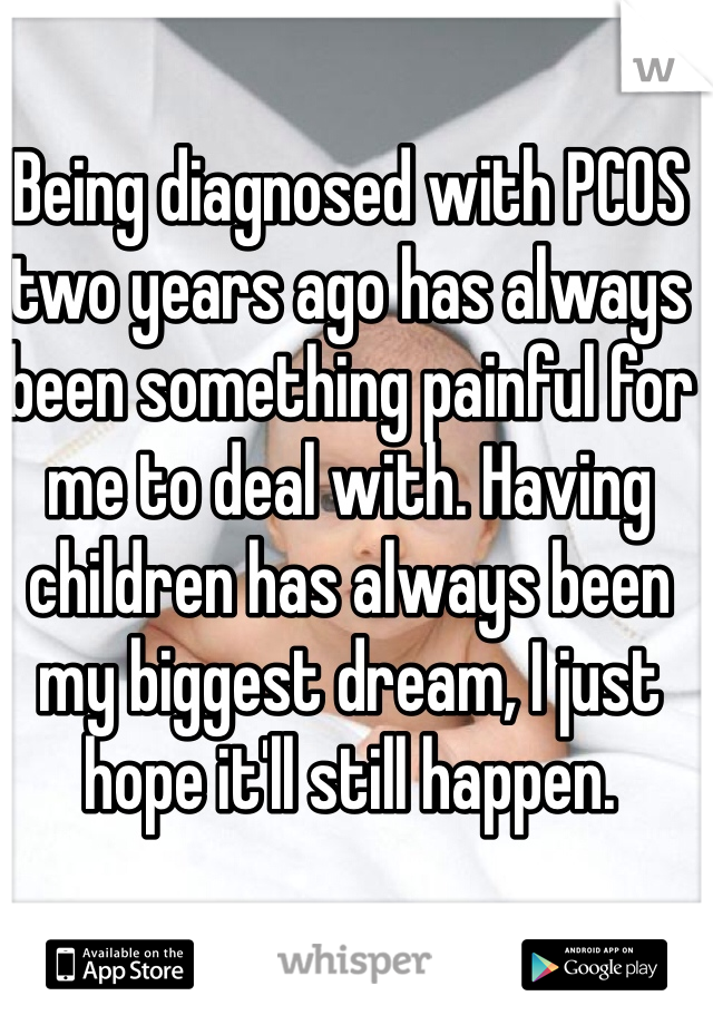 Being diagnosed with PCOS two years ago has always been something painful for me to deal with. Having children has always been my biggest dream, I just hope it'll still happen.