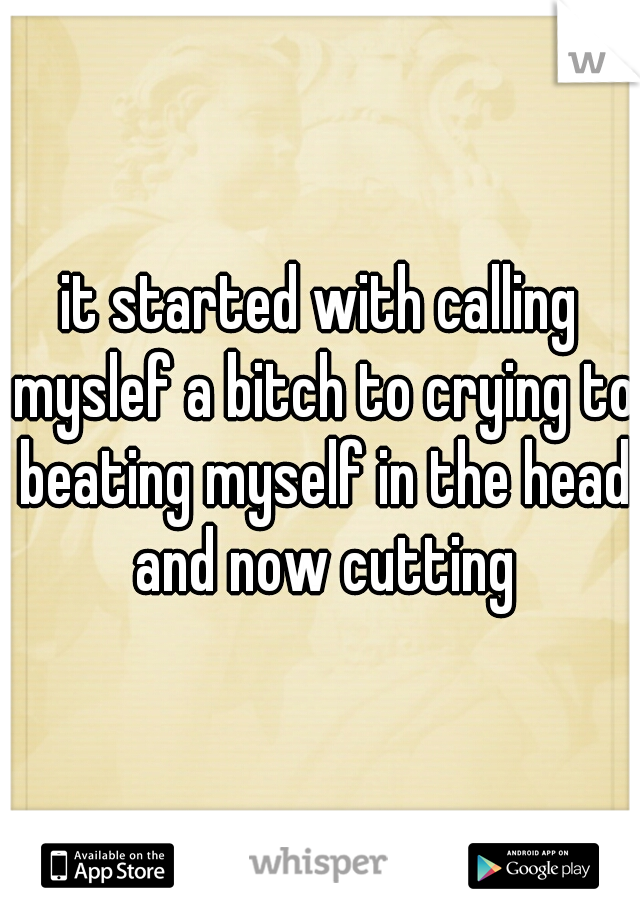 it started with calling myslef a bitch to crying to beating myself in the head and now cutting