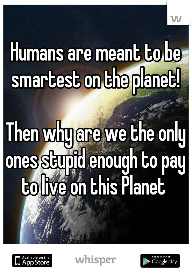 Humans are meant to be smartest on the planet!  Then why are we the only ones stupid enough to pay to live on this Planet