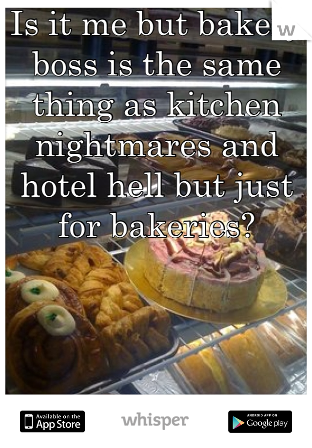 Is it me but bakery boss is the same thing as kitchen nightmares and hotel hell but just for bakeries?