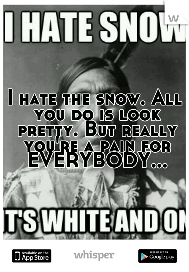 I hate the snow. All you do is look pretty. But really you're a pain for EVERYBODY...