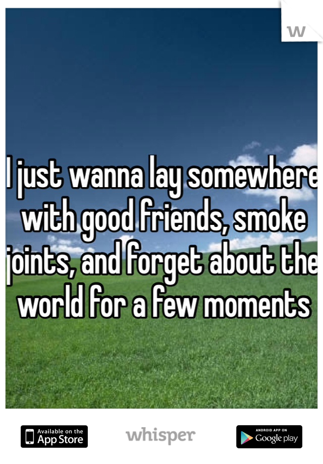 I just wanna lay somewhere with good friends, smoke joints, and forget about the world for a few moments