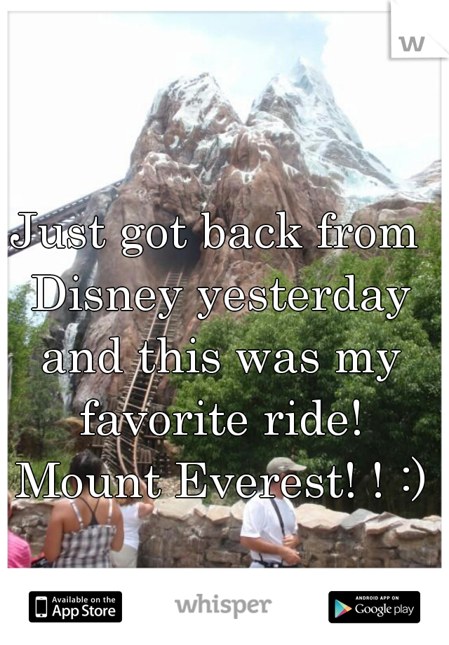 Just got back from Disney yesterday and this was my favorite ride! Mount Everest! ! :)