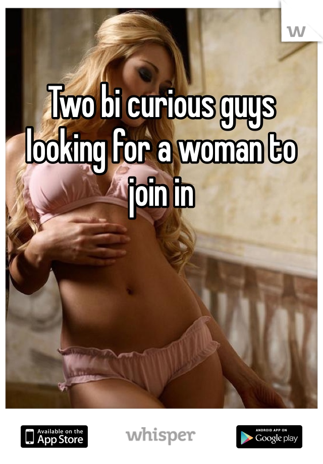 Two bi curious guys looking for a woman to join in