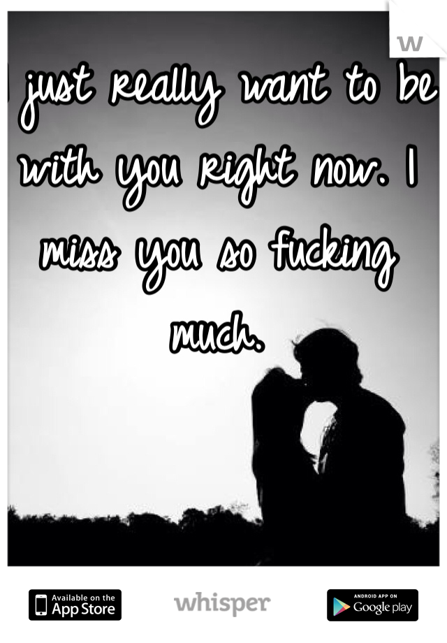 I just really want to be with you right now. I miss you so fucking much.