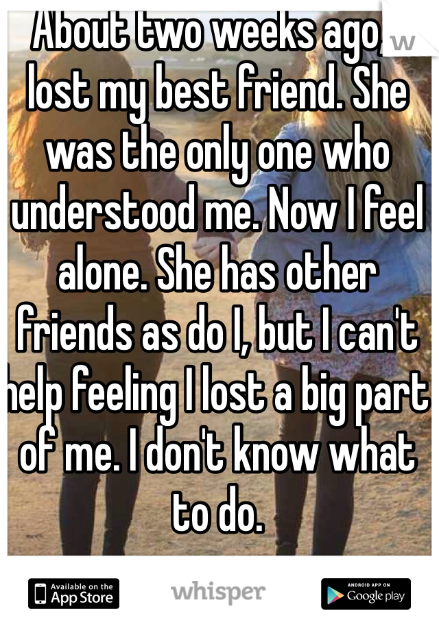 About two weeks ago, I lost my best friend. She was the only one who understood me. Now I feel alone. She has other friends as do I, but I can't help feeling I lost a big part of me. I don't know what to do.