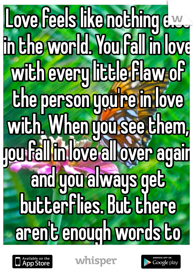 Love feels like nothing else in the world. You fall in love with every little flaw of the person you're in love with. When you see them, you fall in love all over again and you always get butterflies. But there aren't enough words to describe the feeling of love.