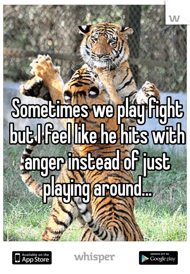 Sometimes we play fight but I feel like he hits with anger instead of just playing around...