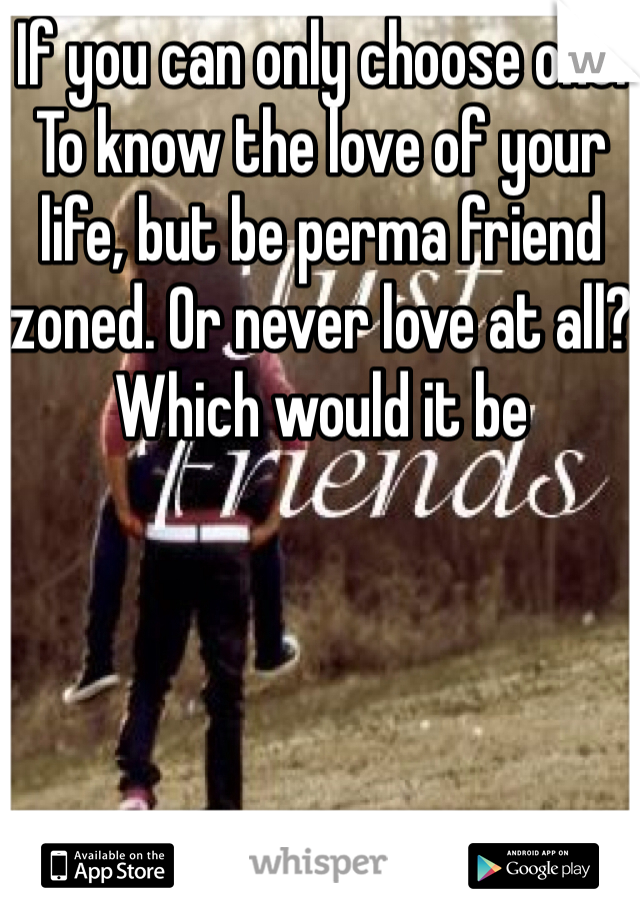 If you can only choose one. To know the love of your life, but be perma friend zoned. Or never love at all? Which would it be