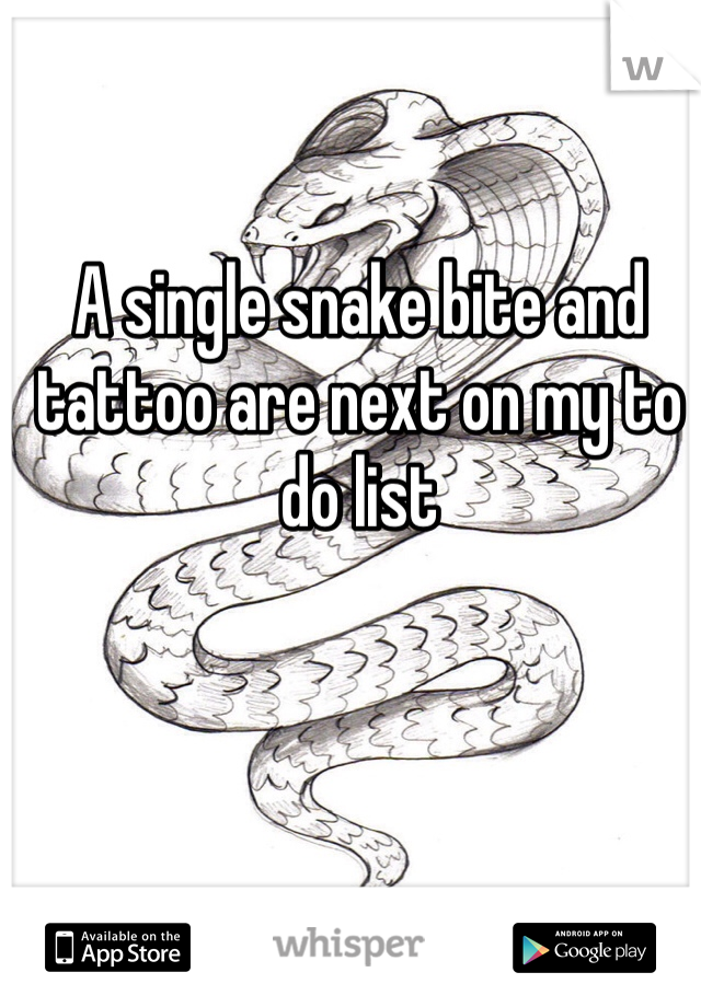A single snake bite and tattoo are next on my to do list